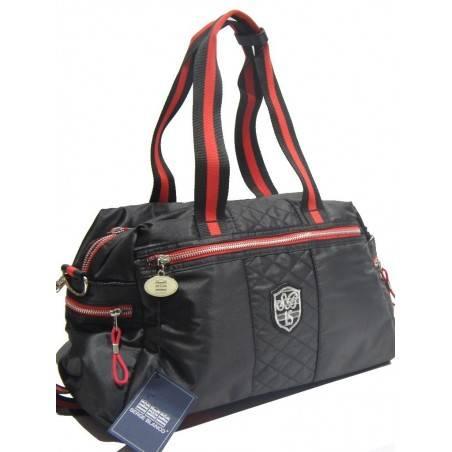 Sac à main bowling de marque Serge Blanco rugby textile noir et rouge SERGE BLANCO - 1