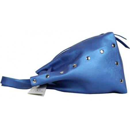 Sac à main bleu en cuir forme bourse Texier fabrication Française Studbags 26111  TEXIER - 4