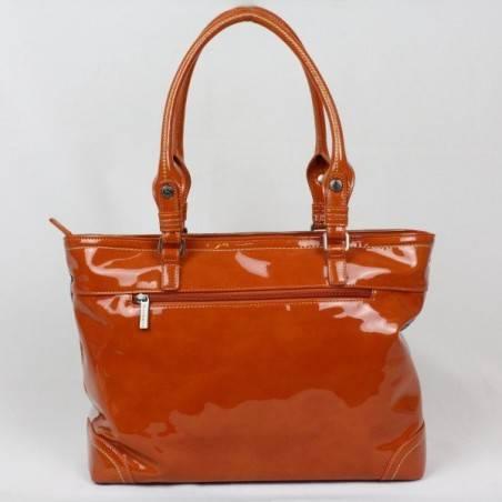 Sac porté épaule cabas rectangle Patrick Blanc toile et verni 509041 PATRICK BLANC - 4