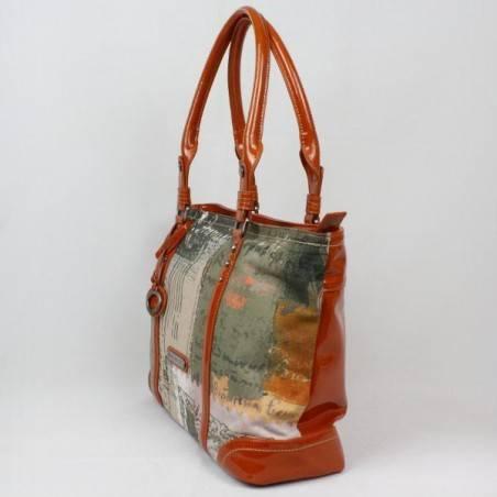 Sac porté épaule cabas rectangle Patrick Blanc toile et verni 509041 PATRICK BLANC - 3
