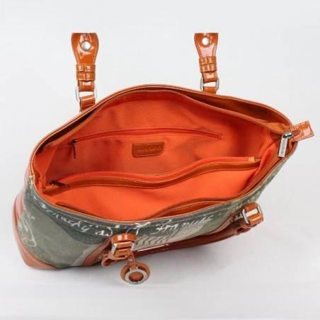 Sac porté épaule cabas rectangle Patrick Blanc toile et verni 509041 PATRICK BLANC - 2