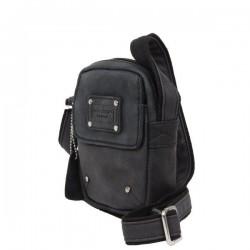 Pochette cuir d'aspect vieilli Wylson noir W8144-6  WYLSON - 2