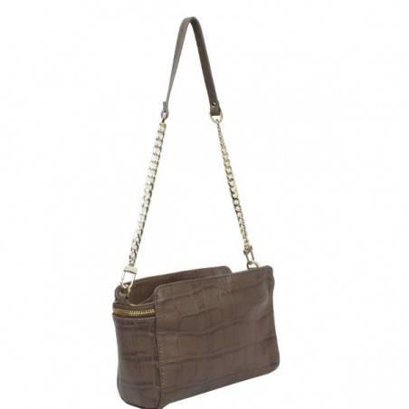 Petit sac bandoulière ou épaule en cuir façon croco Arthur & Aston 1453-08 ARTHUR & ASTON - 4