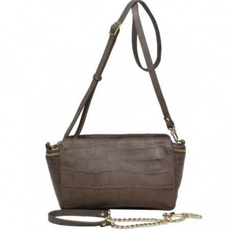 Petit sac bandoulière ou épaule en cuir façon croco Arthur & Aston 1453-08 ARTHUR & ASTON - 1