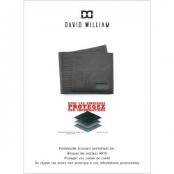 Petit portefeuille monnaie cartes en cuir David William avec bloquage signaux RFID D5347 DAVID WILLIAM - 2