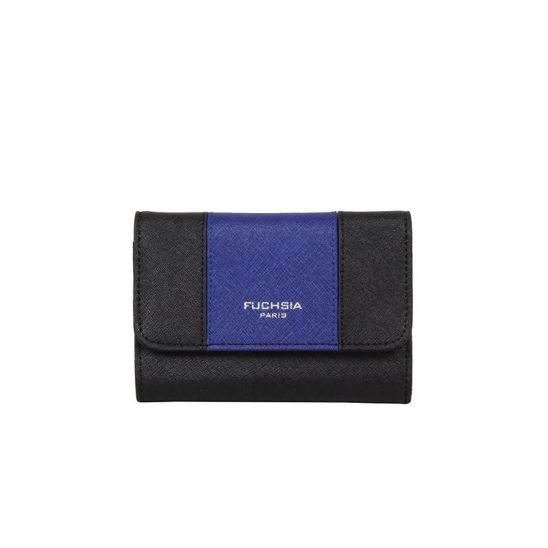 Porte monnaie femme cuir saffiano bi colore Fuchsia F9572-1 FUCHSIA - 1