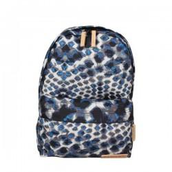 Petit sac à dos Eastpak EK12A Frick 43K Blue Diamonds toile et cuir imprimé EASTPAK - 1