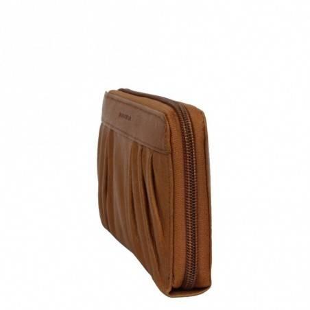 Portefeuille en cuir Fuchsia style plissé F9353-3 FUCHSIA - 3