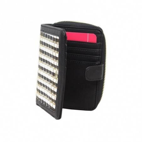 Porte monnaie femme à pièces style tressé Fuchsia F9606-2 FUCHSIA - 2