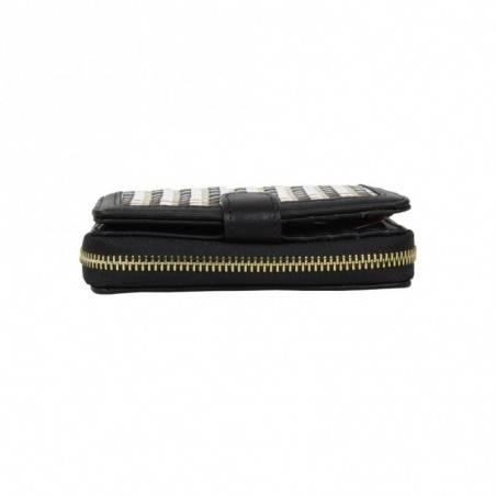 Porte monnaie femme à pièces style tressé Fuchsia F9606-2 FUCHSIA - 5