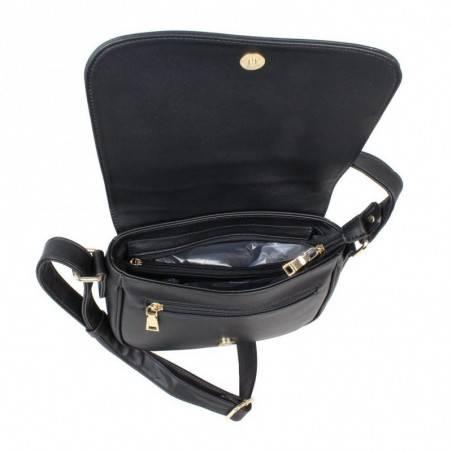 Sac bandoulière à rabat style tressé Fuchsia F9605-2 FUCHSIA - 5