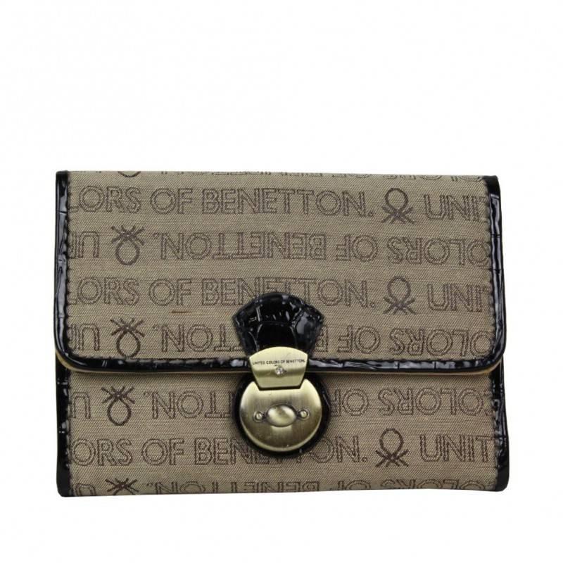 Neuf avec petits défauts portefeuille cartes ultra plat Benetton Toile 67680 A DÉCOUVRIR ! - 1
