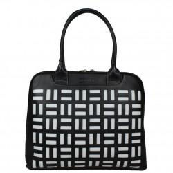 Grand sac épaule cuir arrondie Texier noir et blanc 10363  TEXIER - 1