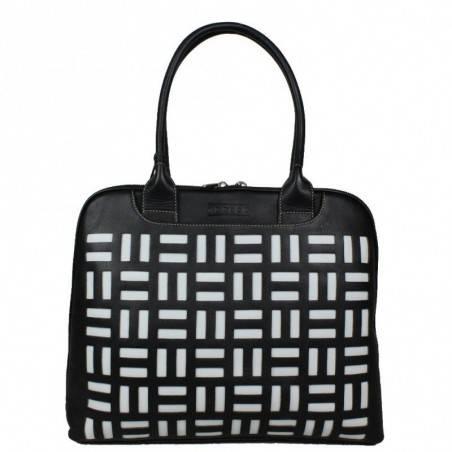 Grand sac épaule cuir arrondi Texier noir blanc 10363 TEXIER - 1