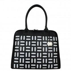 Grand sac épaule cuir arrondie Texier noir et blanc 10363  TEXIER - 4