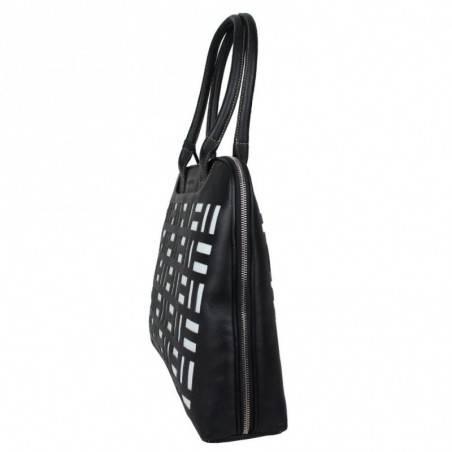 Grand sac épaule cuir arrondi Texier noir blanc 10363 TEXIER - 3