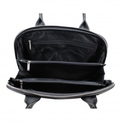 Grand sac épaule cuir arrondi Texier noir blanc 10363 TEXIER - 2