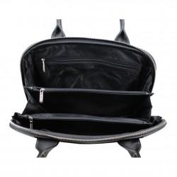 Grand sac épaule cuir arrondie Texier noir et blanc 10363  TEXIER - 2