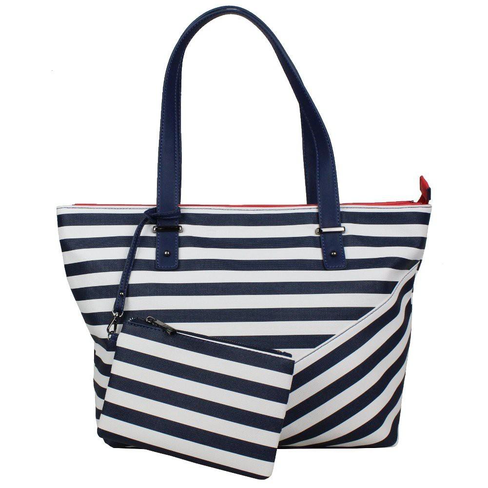 Sac à main épaule shopping marine et blanc de marque Elle Matelot Tote ELLE - 1