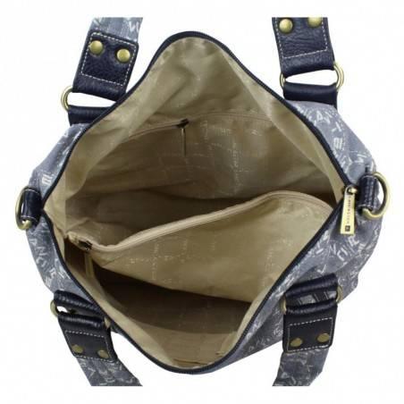 Sac porté épaule shopping marron toile et cuir Lancaster 509-06 LANCASTER - 4