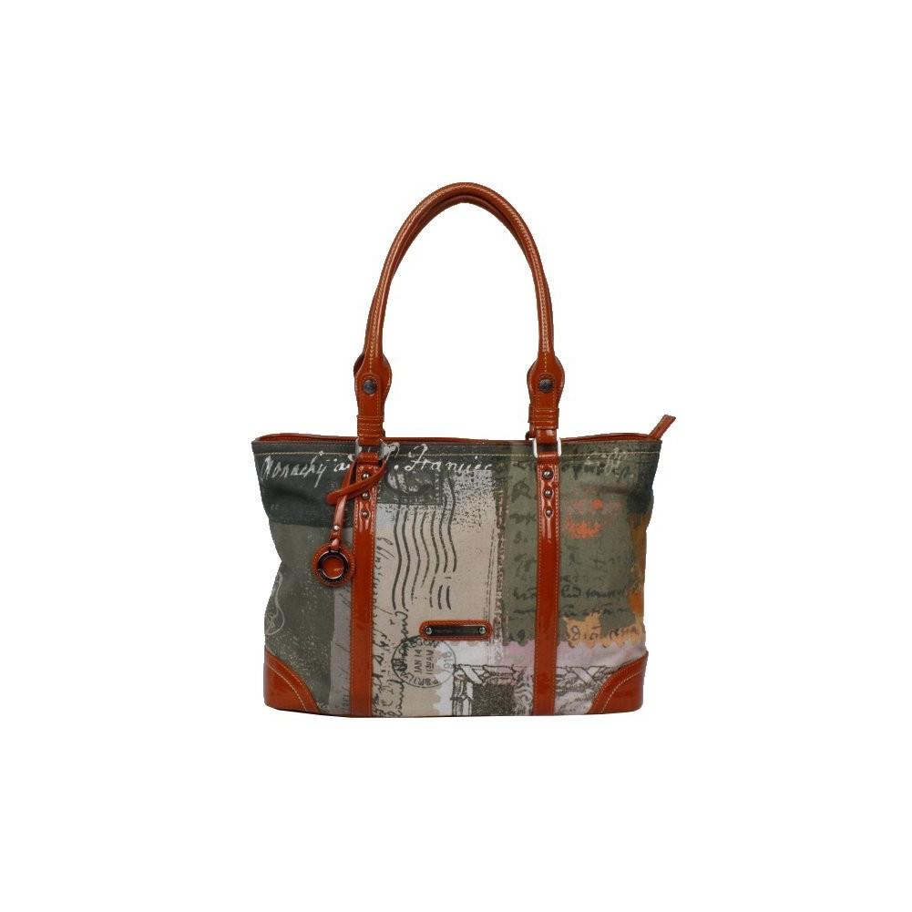 Sac porté épaule cabas rectangle Patrick Blanc toile et verni 509041 PATRICK BLANC - 1