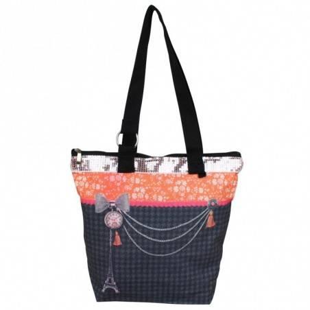 Sac tote bag motif bohème design Tour Eiffel fond gris 0002 A DÉCOUVRIR ! - 1