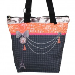 Sac tote bag motif bohème design Tour Eiffel fond gris 0002 A DÉCOUVRIR ! - 4