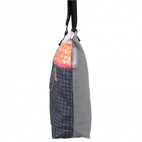 Sac tote bag motif bohème design Tour Eiffel fond gris 0002 A DÉCOUVRIR ! - 2