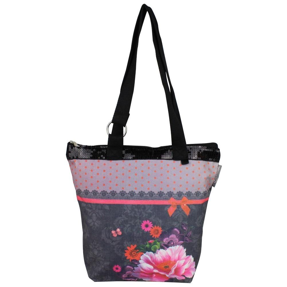 Sac tote bag bohème design floral motif dentelle gris 0003 A DÉCOUVRIR ! - 1