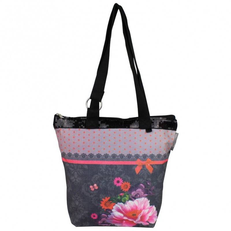 sac tote bag boh me imprim design fleurs effet dentelle fond gris 0003 ebay. Black Bedroom Furniture Sets. Home Design Ideas