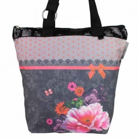 Sac tote bag bohème design floral motif dentelle gris 0003 A DÉCOUVRIR ! - 4