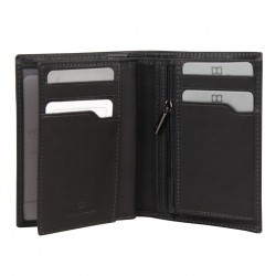Petit portefeuille et monnaie en cuir David William D5344 rainures striés DAVID WILLIAM - 2