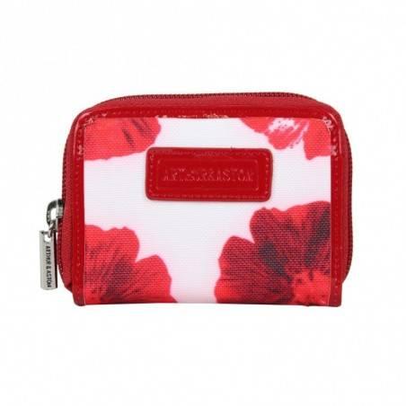 Porte cartes femme fermeture toile imprimé fleurs Arthur et Aston 1226-143