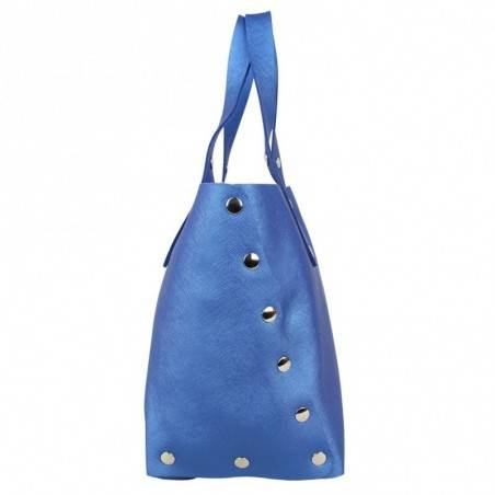 Sac à main bleu cuir forme trapèze Texier fabrication Française Studbags 26108  TEXIER - 3