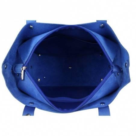 Sac à main bleu cuir forme trapèze Texier fabrication Française Studbags 26108  TEXIER - 2