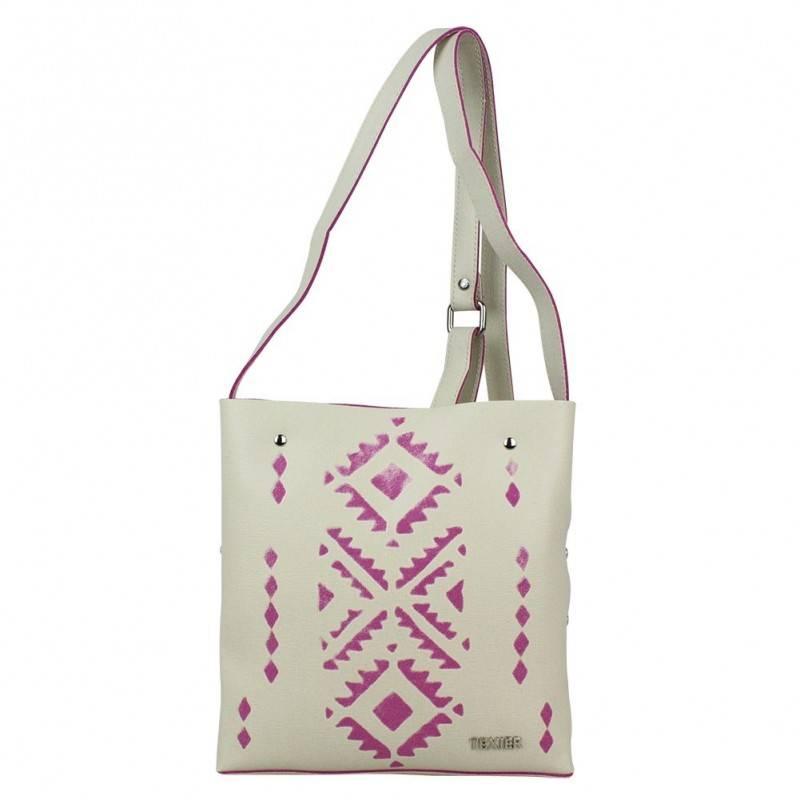 Petit sac bandoulière plat cuir Texier motifs ethnique imprimés 21001i Made in France TEXIER - 1