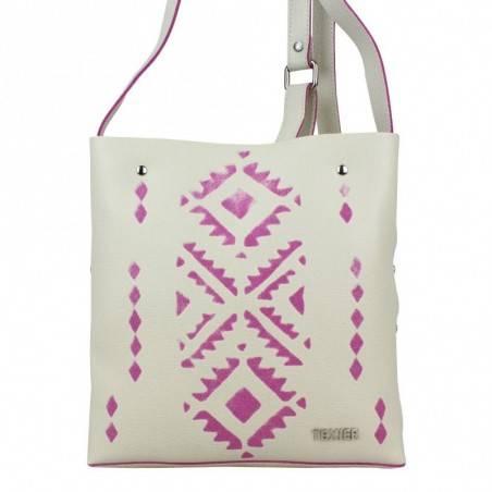 Petit sac bandoulière plat cuir Texier motifs ethnique imprimés 21001i Made in France TEXIER - 4