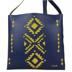 Sac cuir Texier motif ethnique 21002i fabrication France TEXIER - 4