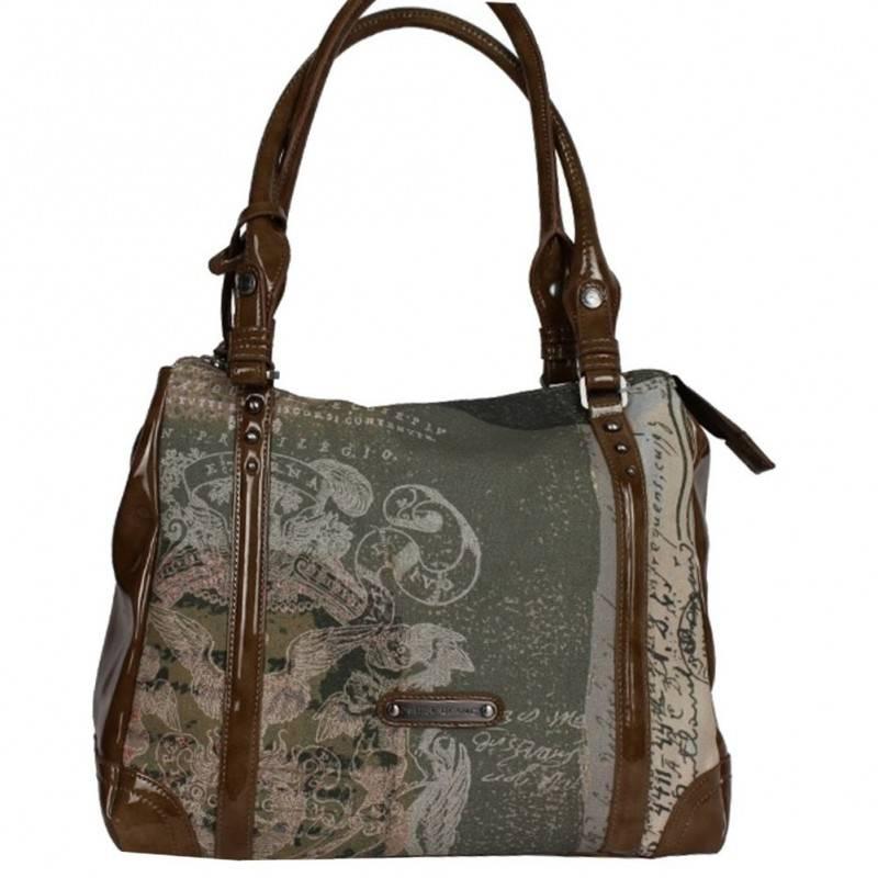Sac porté épaule cabas forme carré Patrick Blanc imprimé toile et verni 509040  PATRICK BLANC - 1