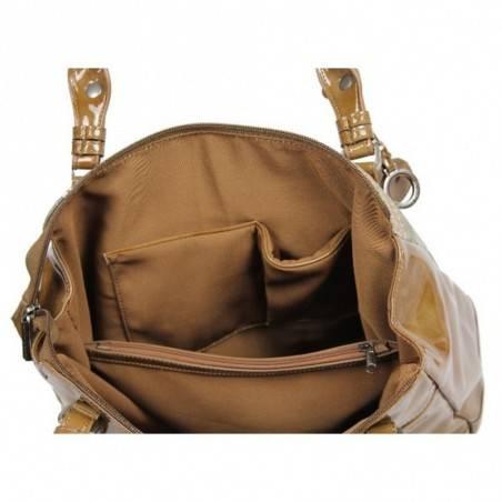 Sac porté épaule cabas forme carré Patrick Blanc imprimé toile et verni 509040  PATRICK BLANC - 3