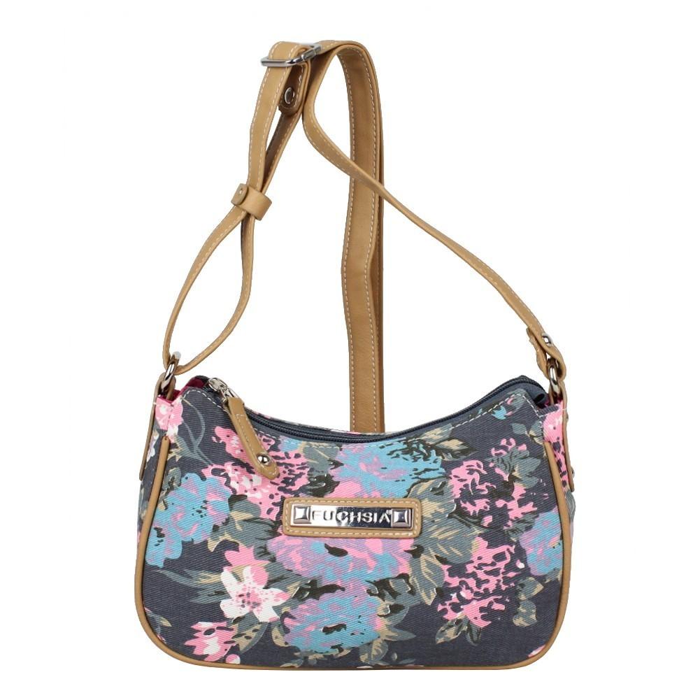 Mini sac bandoulière incurvé motif floral toile Fuchsia F93 FUCHSIA - 1
