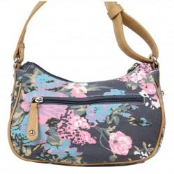 Mini sac bandoulière incurvé motif floral toile Fuchsia F93 FUCHSIA - 4