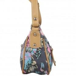 Mini sac bandoulière incurvé motif floral toile Fuchsia F93 FUCHSIA - 2