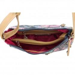 Mini sac bandoulière incurvé motif floral toile Fuchsia F93 FUCHSIA - 3