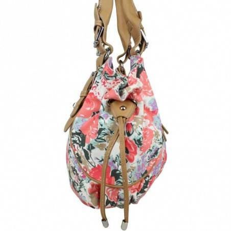 Sac cabas liens côté motif floral toile Fuchsia F9351-1 FUCHSIA - 7