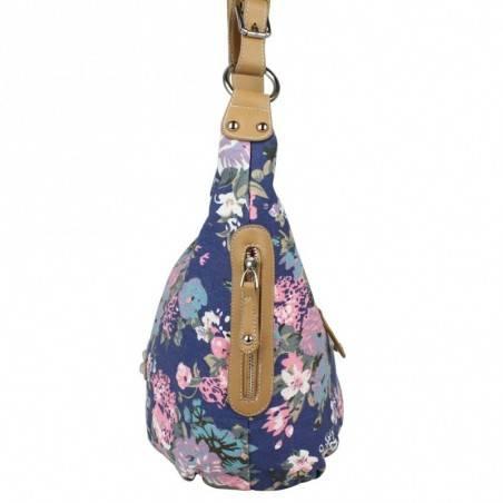 Sac épaule demi lune motif floral toile Fuchsia F9351-3 FUCHSIA - 3