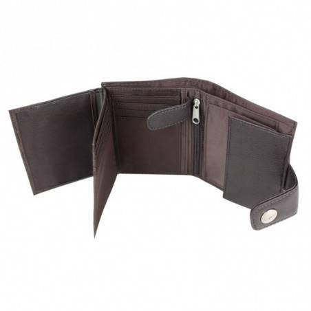 Petit portefeuille Esprit effet cuir vieilli et fermé par pression A15025