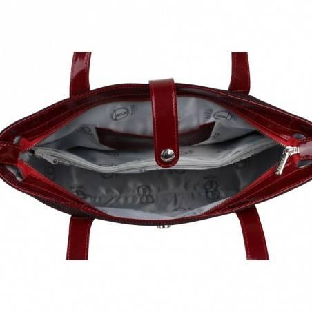 Sac porté épaule Texier fabrication Française toile et cuir verni 15715 TEXIER - 3