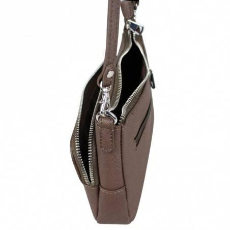 Petit sac bandoulière cuir effet saffiano Fuchsia F9618-4