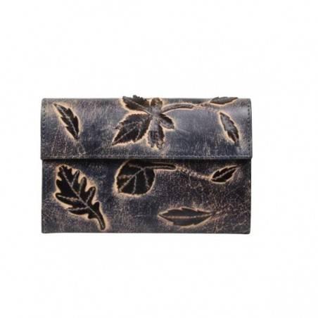 Porte monnaie femme décor feuille cuir aspect vieilli 4976 A DÉCOUVRIR ! - 1